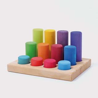 Grimms Wooden Sorting Board with Rollers, Rainbow 12 Pieces by Grimms