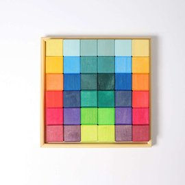 Grimms Wooden Rainbow Squares 4x4cm Building Set (36 Piece) by Grimms
