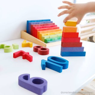 Grimms Wooden Stepped Counting Blocks (2cm) by Grimms