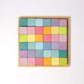 Grimms Wooden Pastel Squares 4x4cm Building Set (36 Piece) by Grimms