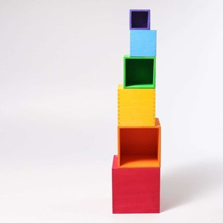 Grimms Multi-Colour Large Wooden Stacking Boxes by Grimms