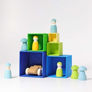 Grimms Blue-Green Small Wooden Stacking Boxes by Grimms