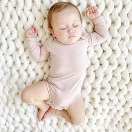 Kyte Baby Long Sleeve Blush Colour Bamboo Bodysuit by Kyte Baby