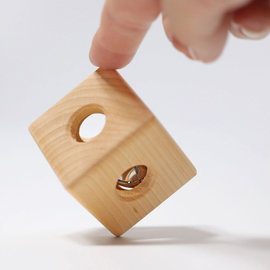 Grimms Wooden Rattle Cube with Bell by Grimms