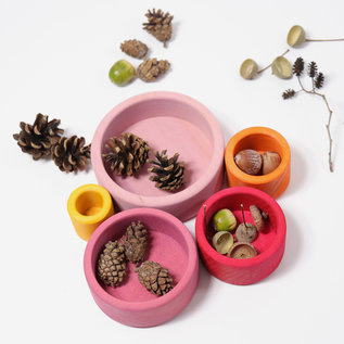 Grimms Lollipop Coloured Wooden Stacking & Nesting Bowls by Grimms