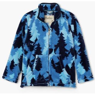 Hatley Blue Forest Camo Print Zip Up Fuzzy Fleece Jacket by Hatley