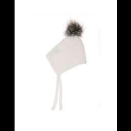 Beba Bean Ivory Cotton Knit Pom Pom Bonnet