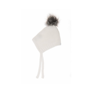 Beba Bean Ivory Cotton Knit Pom Pom Bonnet