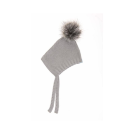 Beba Bean Grey Cotton Knit Pom Pom Bonnet