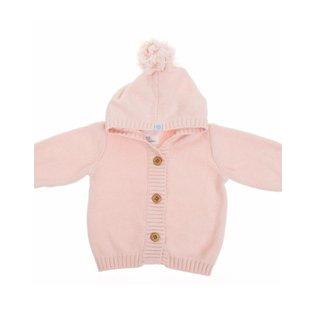 Beba Bean Pink Pom Pom Knit Hoodie by Beba Bean