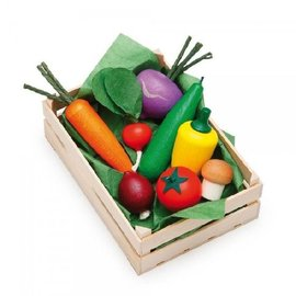 Erzi Wooden Play Food - Veggies in Wooden Crate by Erzi