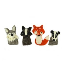 Papoose Woodland Wool Felt Finger Puppet Set (4-Pack)