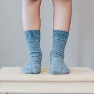 Lamington Grey Rib Merino Wool Crew Length Socks