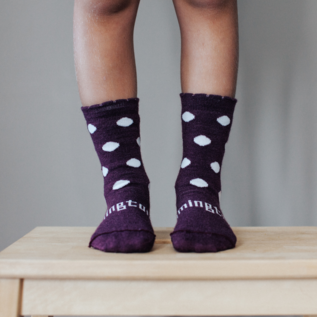 Lamington Mulberry Print Merino Wool Crew Length Socks