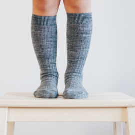 Lamington Grey Rib Merino Wool Knee High Socks
