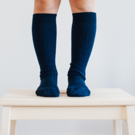 Lamington Navy Merino Wool Knee High Socks