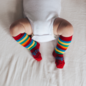 Lamington Scooter Rainbow Print Merino Wool Knee High Socks