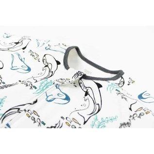 Nest Designs Orca White Print Long Sleeve Organic Cotton Sleep Suit