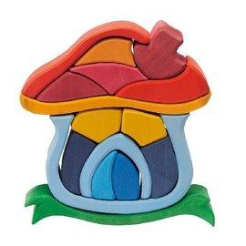 Gluckskafer Mushroom House Wooden Building Toy