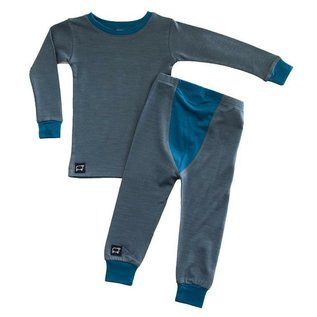 Wee Woollies Charcoal/Swell Colour Merino Wool PJ/Base Layer Set by Wee Woollies