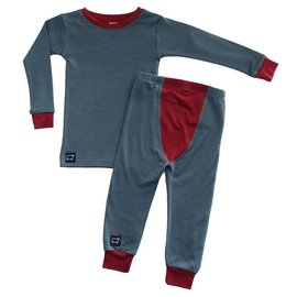 Wee Woollies Charcoal/Wild Cherry Colour Merino Wool PJ/Base Layer Set by Wee Woollies