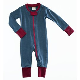 Wee Woollies Charcoal/Wild Cherry Colour Merino Wool Zip Romper by Wee Woollies