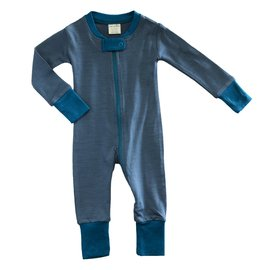 Wee Woollies Charcoal/Swell Colour Merino Wool Zip Romper by Wee Woollies