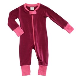 Wee Woollies Wild Cherry/Honeysuckle Colour Merino Wool Zip Romper by Wee Woollies