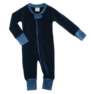 Wee Woollies Raven/Charcoal Colour Merino Wool Zip Romper by Wee Woollies