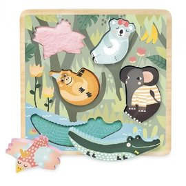 Vilac Jungle Theme Touch & Feel Wooden Puzzle
