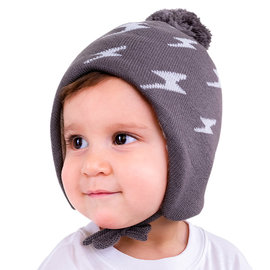Jan & Jul by Twinklebelle Grey Lightning Bolt Print Winter Hat by Jan & Jul