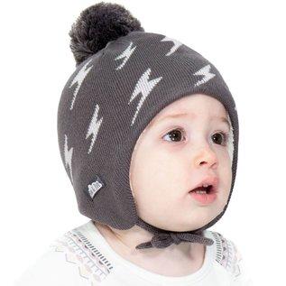 Jan & Jul by Twinklebelle Grey Lightning Bolt Print Winter Hat by Jan & Jul