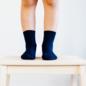Lamington Navy Rib Merino Wool Crew Length Socks