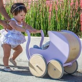 Kinderfeets Lavender Colour Wooden Pram 2 in 1 Walker by Kinderfeets