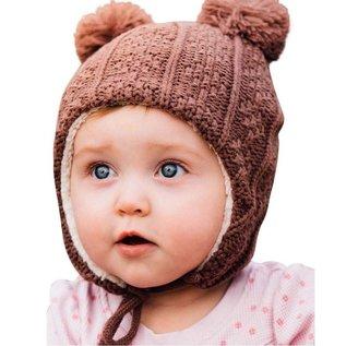 Jan & Jul by Twinklebelle Brown Colour Bear Ear Flap Hat