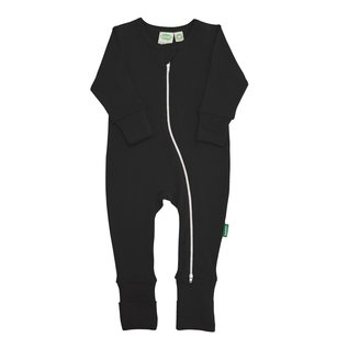 Black 2 Way Zip Organic Cotton Romper by Parade