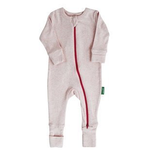 Parade Pink Melange 2 Way Zip Organic Cotton Romper by Parade