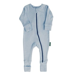 Parade Blue Melange 2 Way Zip Organic Cotton Romper by Parade