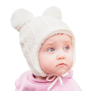Jan & Jul by Twinklebelle Cream Colour Bear Ear Flap Hat