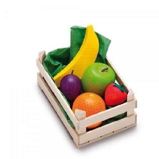 Erzi Wooden Play Food - Small Set Fruit in Wooden Crate by Erzi