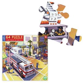 Eeboo Fire Truck in the City 64-Piece Puzzle by Eeboo