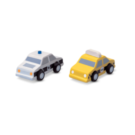 Plan Toys City Taxi & Police Car Vehicle Set by Plan Toys