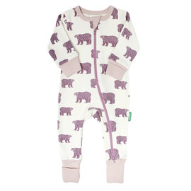 Parade Plum Bears Print 2 Way Zip Organic Cotton Romper by Parade