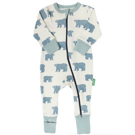 Parade Blue Bears Print 2 Way Zip Organic Cotton Romper by Parade
