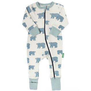 Parade Blue Bears Print 2 Way Zip Organic Cotton Romper by Parade