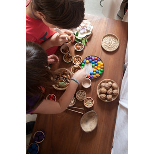 Grapat Wood Coloured Bowls and Marbles With Tongs by Grapat