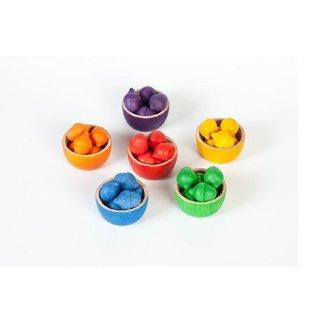 Grapat Wood Coloured Bowls and Acorns With Tongs by Grapat