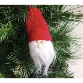 Silver Tree Felt Santa Gnome Ornament