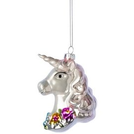 Silver Tree Beautiful Glass Unicorn Ornament