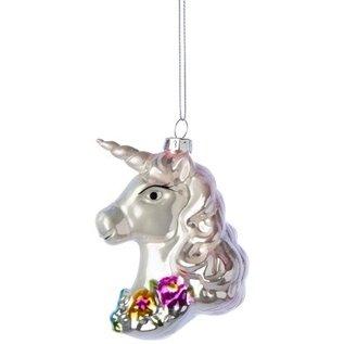 Silver Tree Beautiful Glass Unicorn Ornament